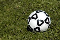Balón de fútbol en hierba Imagenes de archivo