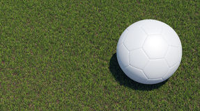 Balón de fútbol en hierba verde hermosa Foto de archivo libre de regalías