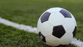 Balón de fútbol en la hierba verde almacen de metraje de vídeo