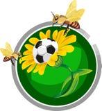 Balón de fútbol en las flores libre illustration