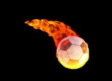 Balón de fútbol en llama de la energía Fotos de archivo libres de regalías