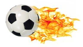 Balón de fútbol en llamas Fotografía de archivo libre de regalías