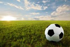 Balón de fútbol en prado Foto de archivo libre de regalías
