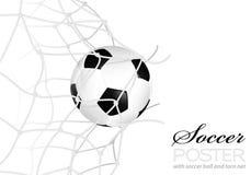 Balón de fútbol en red Fotografía de archivo