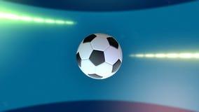 Balón de fútbol de giro y la bandera del Brasil