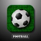 Balón de fútbol hermoso del icono en hierba alta Fotografía de archivo libre de regalías