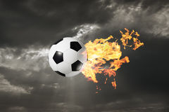 Balón de fútbol llameante Fotografía de archivo