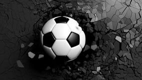 Balón de fútbol que se rompe fuertemente a través de una pared negra ilustración 3D Imagen de archivo
