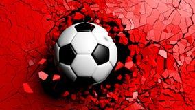 Balón de fútbol que se rompe fuertemente a través de una pared roja ilustración 3D Fotos de archivo