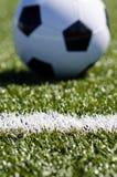 Balón de fútbol que se sienta en hierba fotos de archivo libres de regalías