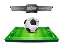 Balón de fútbol y campo de hierba realistas Imagen de archivo