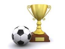 Balón de fútbol y un trofeo Fotos de archivo