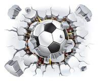 Balón de fútbol y viejo daño de la pared del yeso. ilustración del vector