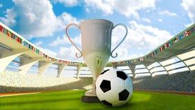 Balón de la taza y de fútbol en el estadio Imágenes de archivo libres de regalías