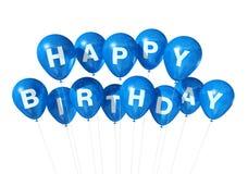 Balões azuis do feliz aniversario ilustração do vetor