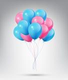 Balões azuis e cor-de-rosa lustrosos realísticos de voo com conceito do partido e da celebração no fundo branco ilustração royalty free