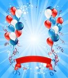 Balões azuis, vermelhos e brancos ilustração do vetor
