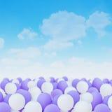 Balões brancos e roxos Imagens de Stock Royalty Free