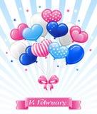 Balões brilhantes para o dia de Valentim feliz Imagem de Stock