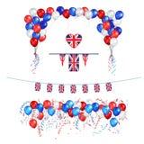 Balões BRITÂNICOS da bandeira de Union Jack ilustração do vetor