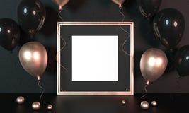 Bal?es coloridos ao lado da moldura para retrato dourada na frente da parede preta rendi??o 3d Zombe acima da moldura para retrat ilustração stock
