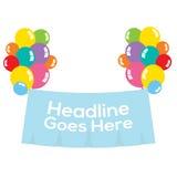Balões coloridos com bandeira vazia Fotos de Stock Royalty Free