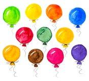 Balões coloridos da aquarela no branco ilustração do vetor