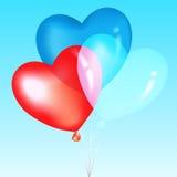 Balões coloridos da forma do coração, Imagens de Stock