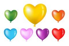Balões coloridos da forma do coração. Vetor Imagem de Stock Royalty Free
