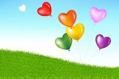 Balões coloridos da forma do coração. Vetor Fotos de Stock Royalty Free