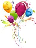 Balões coloridos, decorados com ramalhete alegre Imagem de Stock