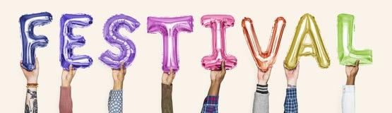 Balões coloridos do alfabeto que formam o festival da palavra foto de stock royalty free