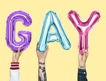 Balões coloridos do alfabeto que formam o homossexual da palavra imagens de stock