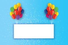 Balões coloridos do corte do papel do voo Cartão do feliz aniversario Quadro do retângulo do origâmi - espaço para o texto ilustração do vetor