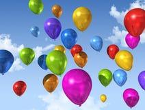 Balões coloridos em um céu azul ilustração stock