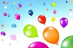 Balões coloridos no ar Fotos de Stock Royalty Free