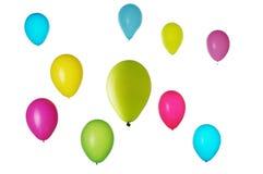 Balões coloridos no branco Fotografia de Stock Royalty Free
