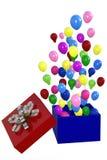 Balões coloridos que comemoram o aniversário, 3D Fotos de Stock Royalty Free