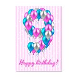 balões coloridos realísticos no nono aniversário rosa, prata, azul Cartão cor-de-rosa da listra com estrelas brancas ilustração do vetor