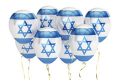 Balões com a bandeira de Israel, conceito holyday rendição 3d Imagens de Stock Royalty Free