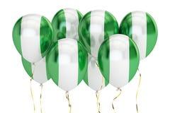 Balões com a bandeira de Nigéria, conceito holyday rendição 3d Fotografia de Stock