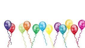 Balões com fita, balões, movimento, vídeo ilustração royalty free