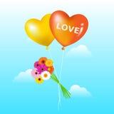 Balões com grupo das margaridas Imagens de Stock