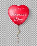 Balões com o dia feliz do ` s das mulheres das palavras Fotografia de Stock