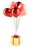 Balões com presente Fotografia de Stock