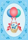 Balões com um presente Fotos de Stock