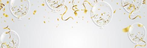 Balões, confetes e flâmulas do ouro no fundo branco Vecto Imagem de Stock