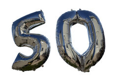 Balões contra o branco para um 50th Imagem de Stock