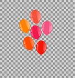 Balões cor-de-rosa alaranjados vermelhos em um fundo da transparência Fotografia de Stock
