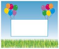 Balões da cor do quadro no céu Fotos de Stock Royalty Free
